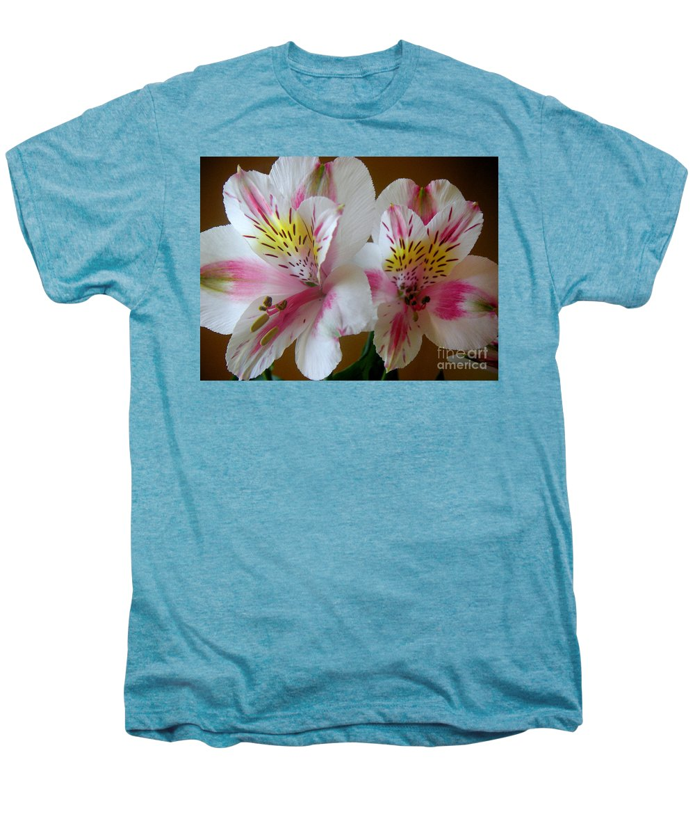 Nature Men's Premium T-Shirt featuring the photograph Alstroemerias - Heralding by Lucyna A M Green