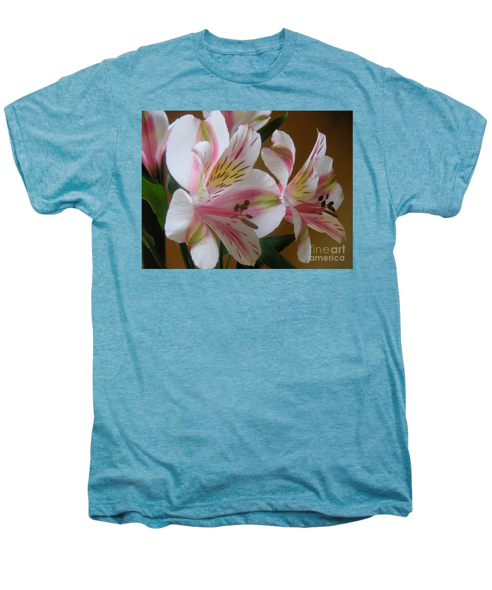 Nature Men's Premium T-Shirt featuring the photograph Alstroemerias - Listening by Lucyna A M Green