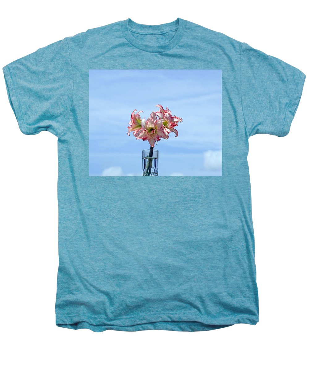 Amaryllis; Belladonna; Lily; Naked; Ladies; Lady; Florida; Spring; Sky; Bloom; Blooming. Flower; Blo Men's Premium T-Shirt featuring the photograph Amaryillis Belladonna Against The Spring Florida Sky by Allan Hughes