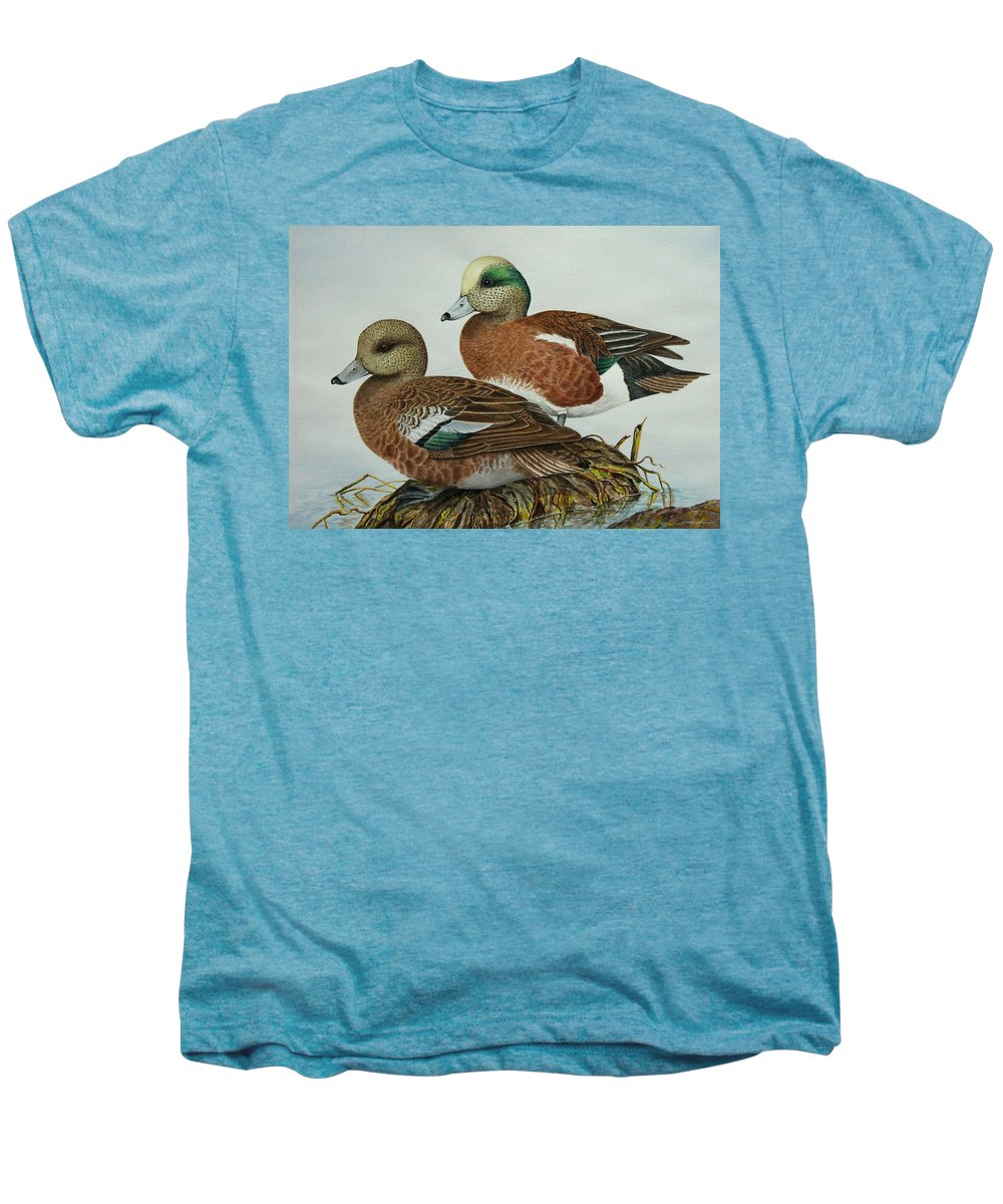 Ducks Men's Premium T-Shirt featuring the painting American Widgeons by Elaine Booth-Kallweit