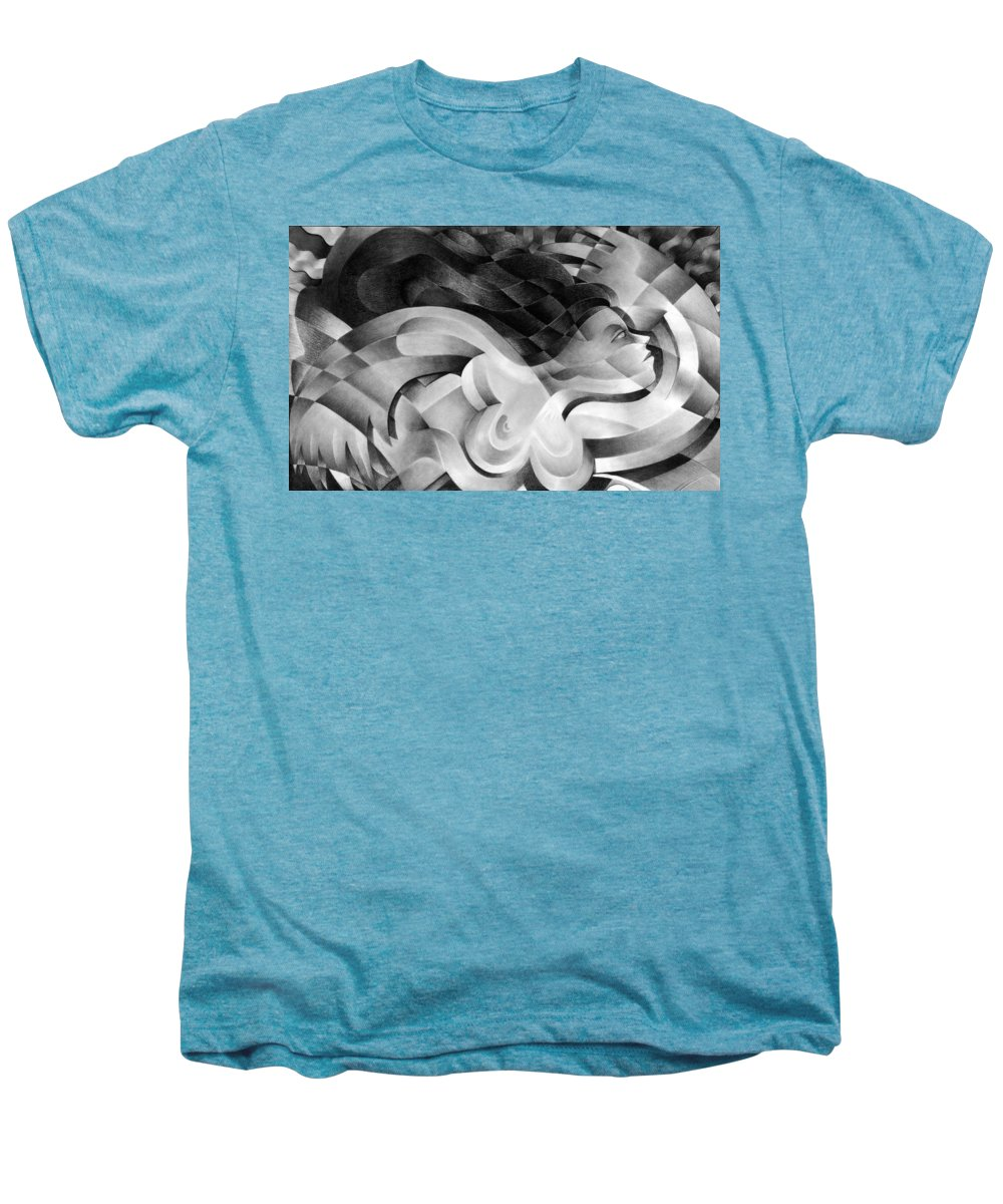 Art Men's Premium T-Shirt featuring the drawing Amore by Myron Belfast