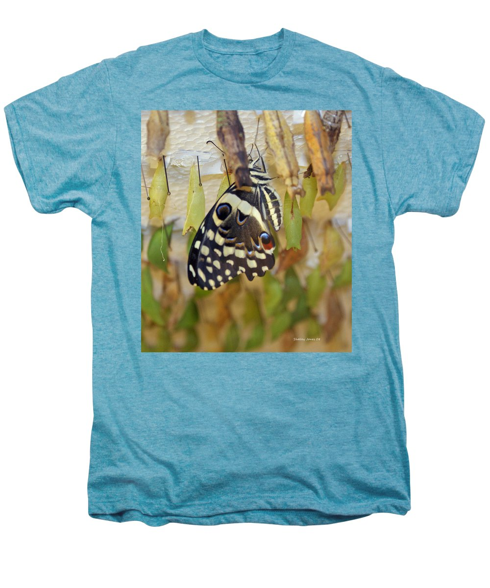 Butterfly Men's Premium T-Shirt featuring the photograph And Life Begins by Shelley Jones