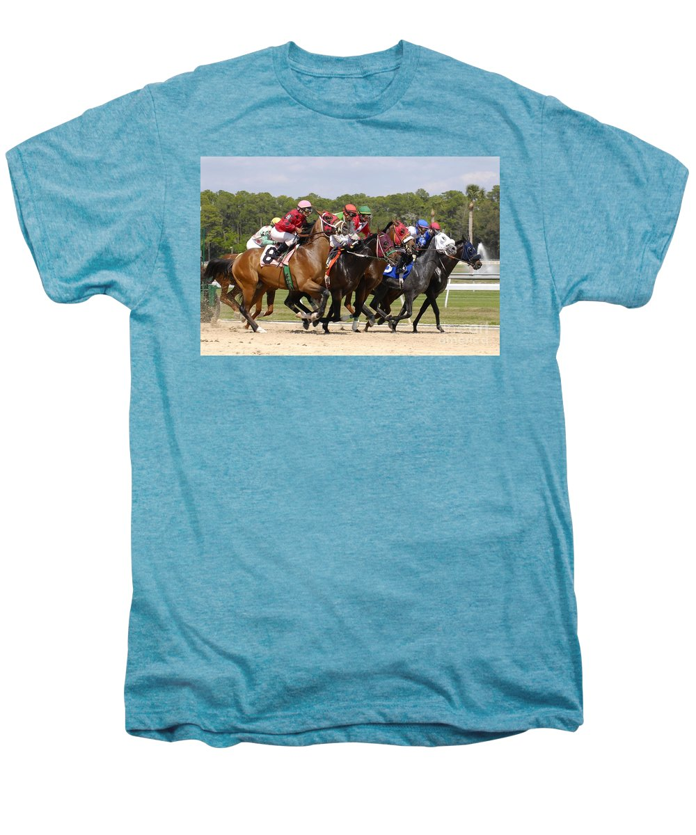 Horse Racing Men's Premium T-Shirt featuring the photograph And Their Off by David Lee Thompson