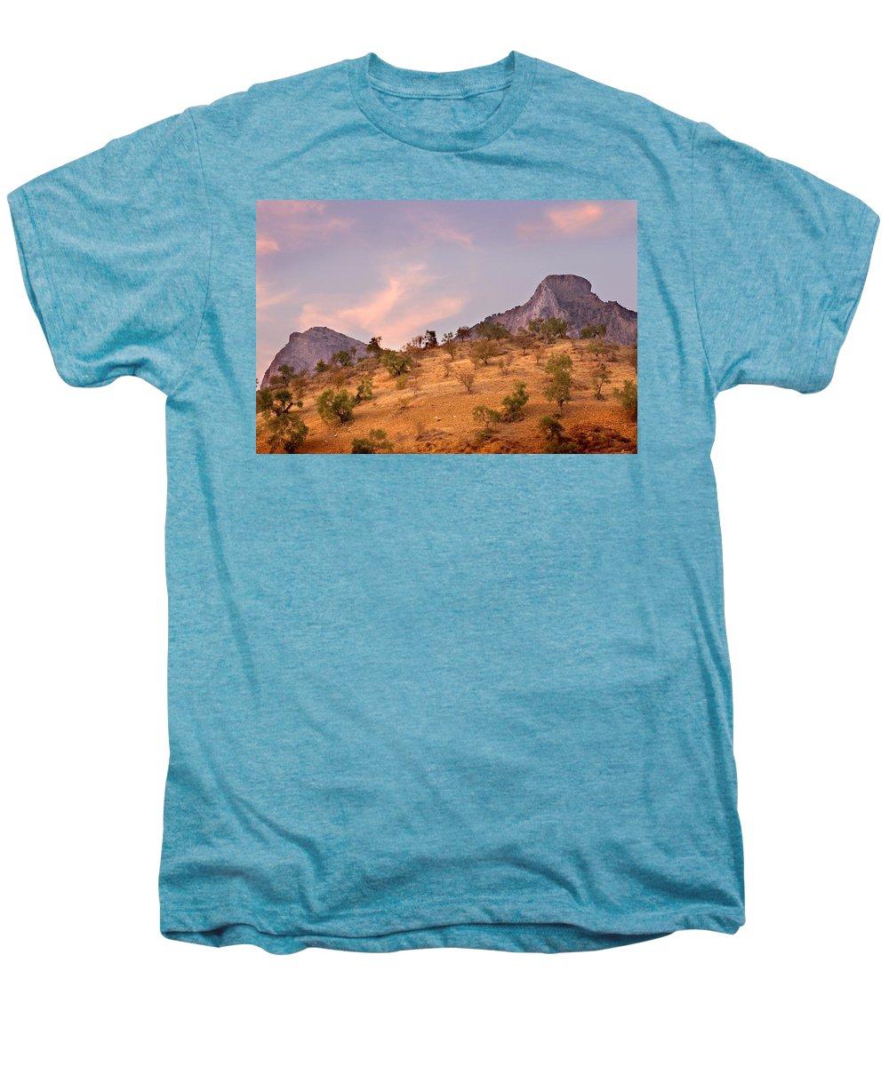 Andalucia Men's Premium T-Shirt featuring the photograph Andalucian Landscape Near Zahara De La Sierra Spain by Mal Bray