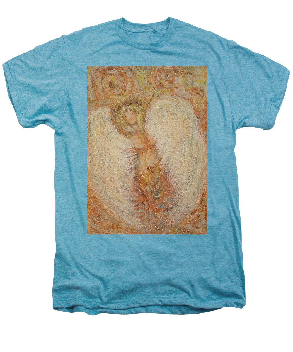 Angel Men's Premium T-Shirt featuring the painting Angel Loves You by Natalie Holland