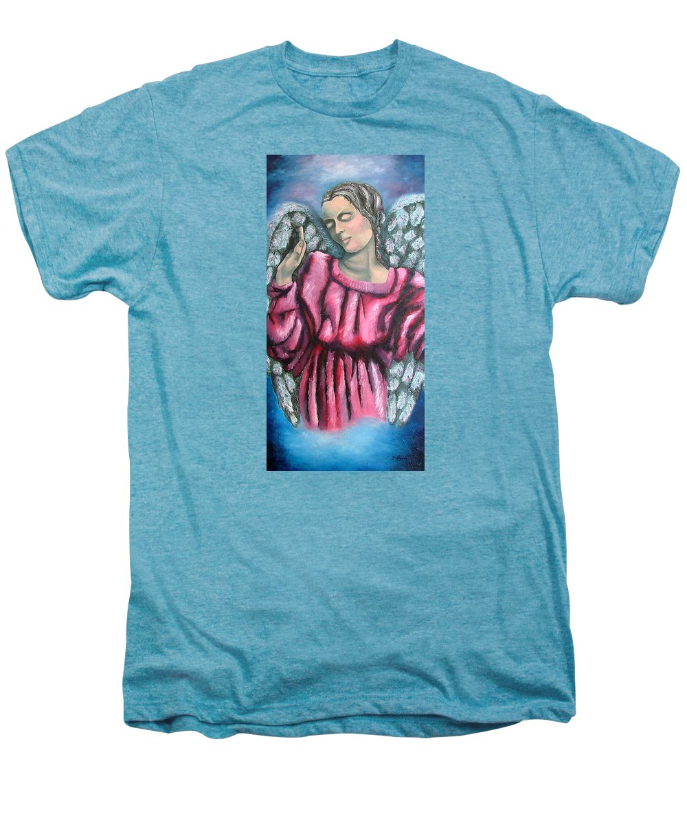 Angel Men's Premium T-Shirt featuring the painting Angel Of Hope by Elizabeth Lisy Figueroa