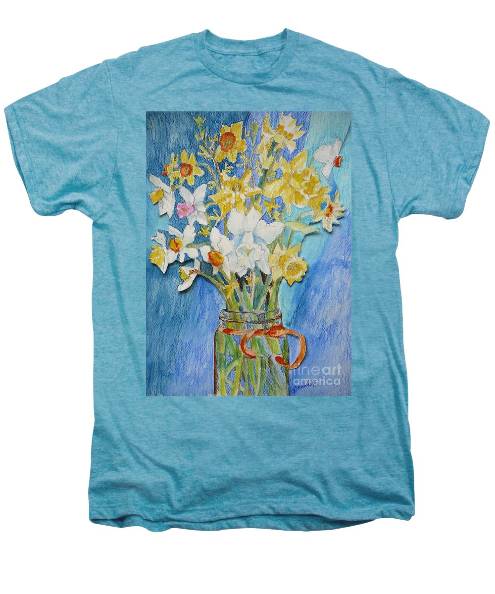 Flowers Men's Premium T-Shirt featuring the painting Angels Flowers by Jan Bennicoff
