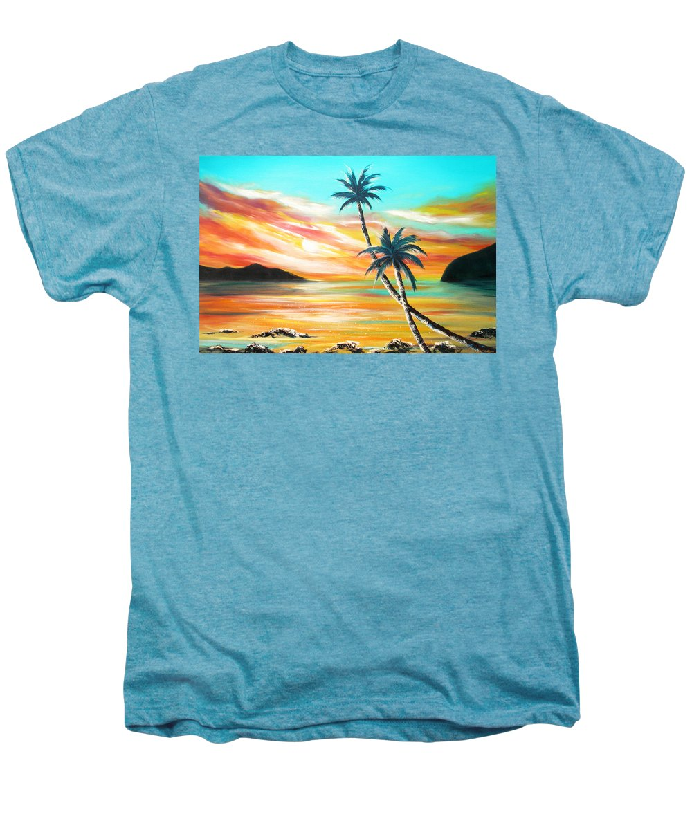 Sunset Men's Premium T-Shirt featuring the painting Another Sunset In Paradise by Gina De Gorna