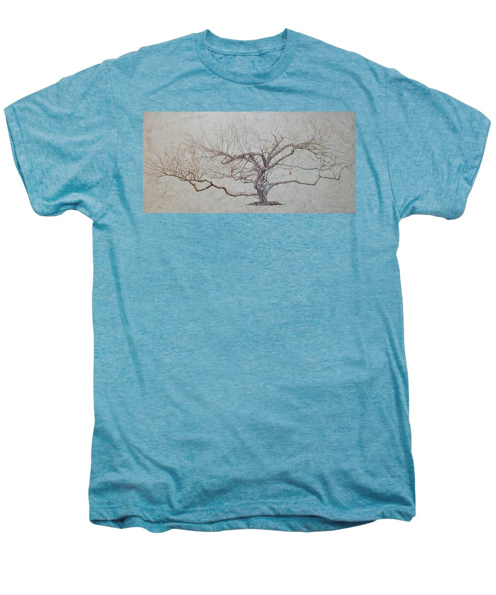 Apple Tree Men's Premium T-Shirt featuring the painting Apple Tree In Winter by Leah Tomaino