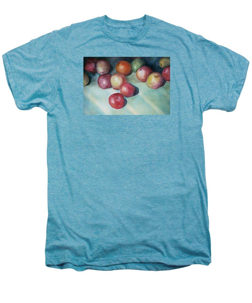 Orange Men's Premium T-Shirt featuring the painting Apples And Orange by Jun Jamosmos
