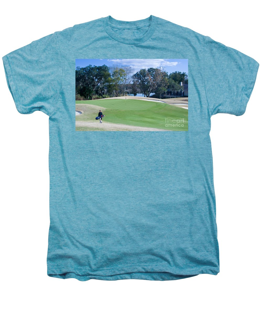 Golf Men's Premium T-Shirt featuring the photograph Approaching The 18th Green by Thomas Marchessault