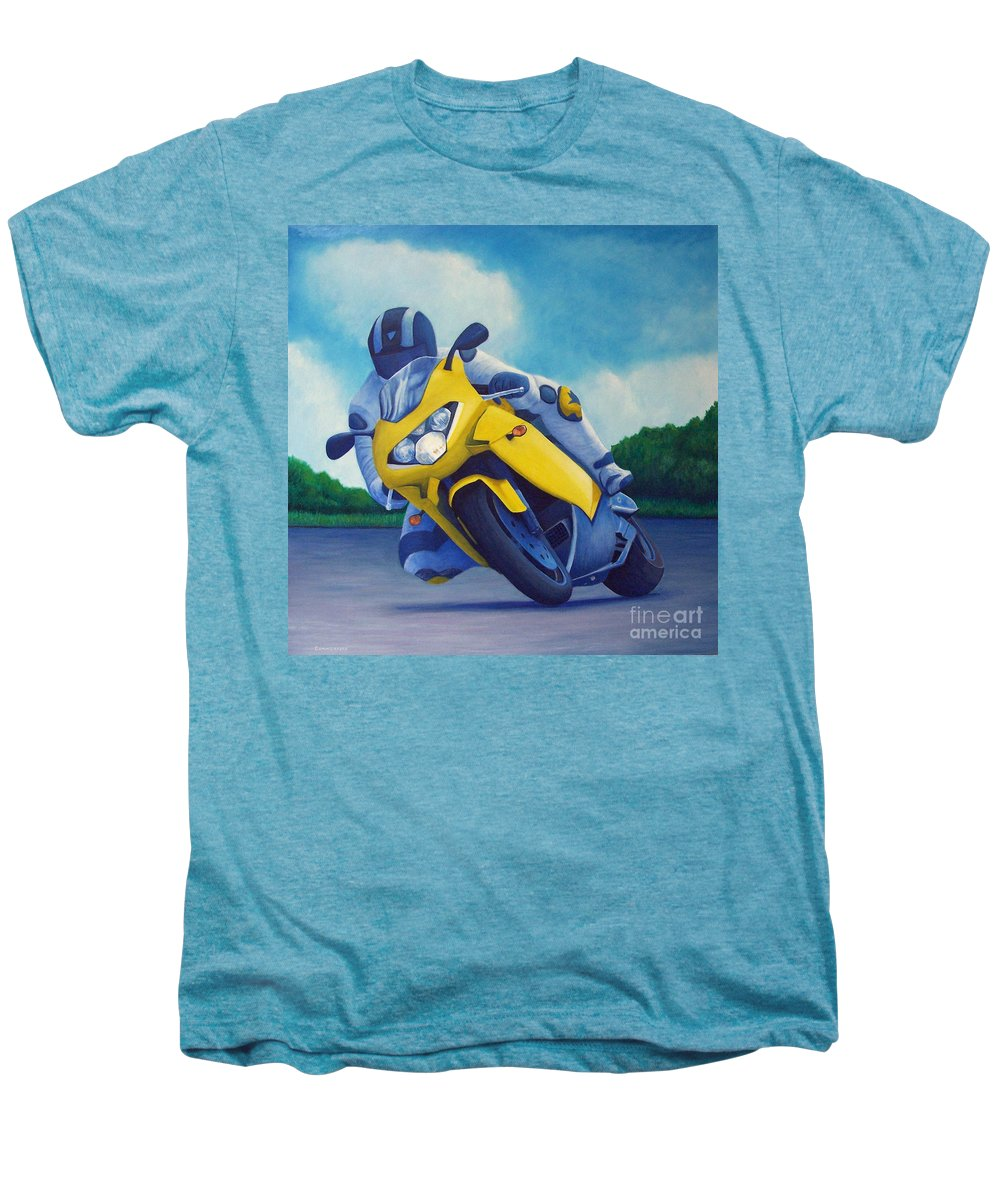 Motorcycle Men's Premium T-Shirt featuring the painting Aprilla - Tuesday Afternoon by Brian Commerford