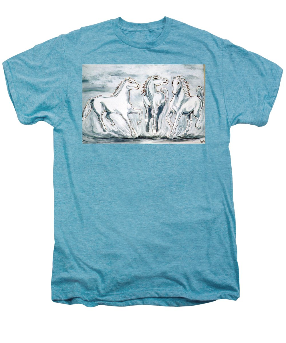Horses Men's Premium T-Shirt featuring the painting Arabian Roots by Marco Morales
