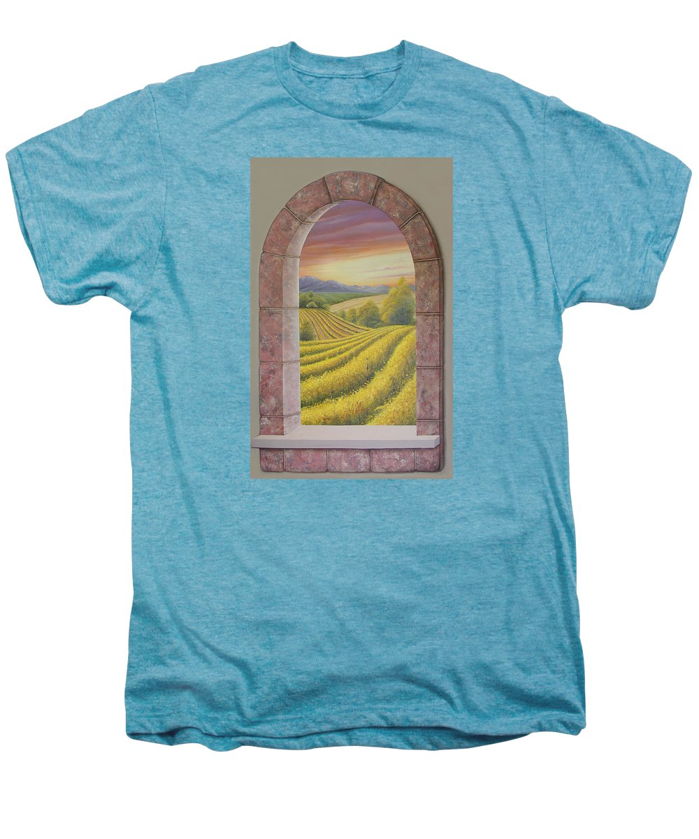 Realistic Men's Premium T-Shirt featuring the painting Arco Vinal by Angel Ortiz