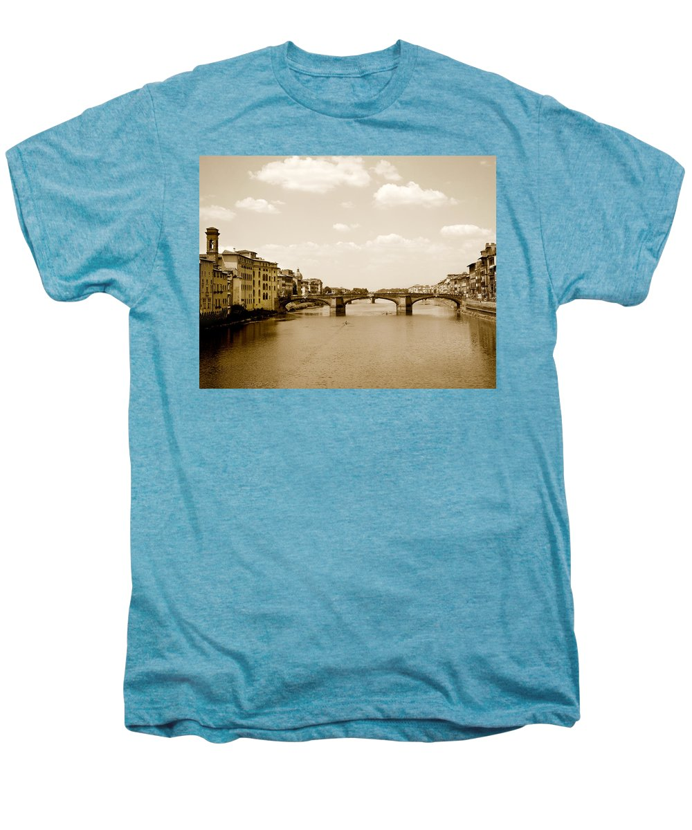Italy Men's Premium T-Shirt featuring the photograph Arno River Florence by Marilyn Hunt