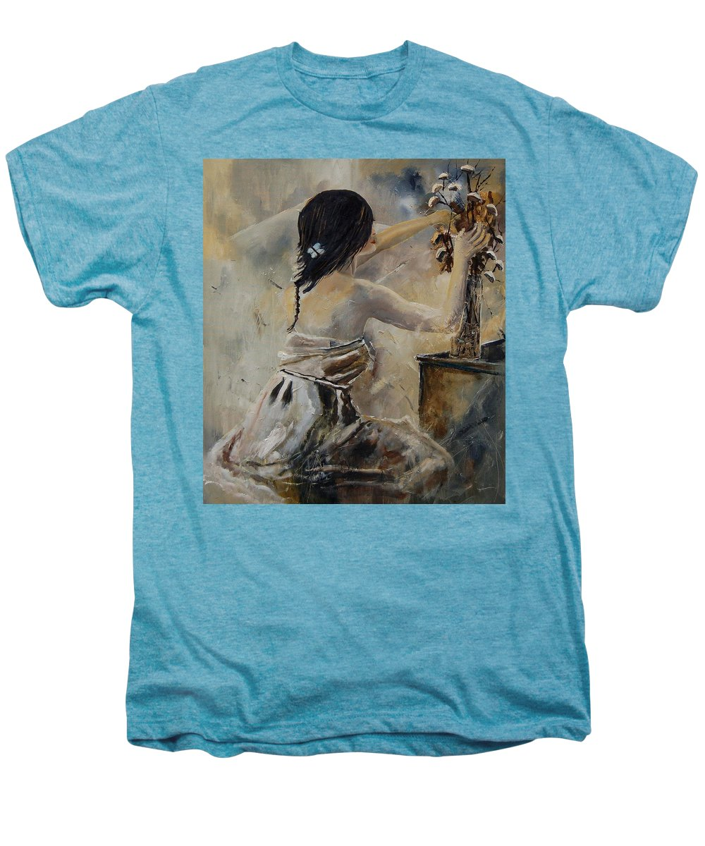 Girl Men's Premium T-Shirt featuring the painting Arranging Flowers by Pol Ledent