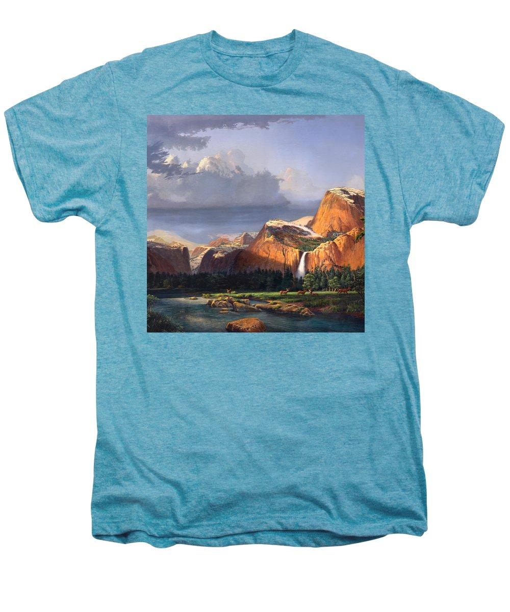 American Men's Premium T-Shirt featuring the painting Deer Meadow Mountains Western Stream Deer Waterfall Landscape Oil Painting Stormy Sky Snow Scene by Walt Curlee