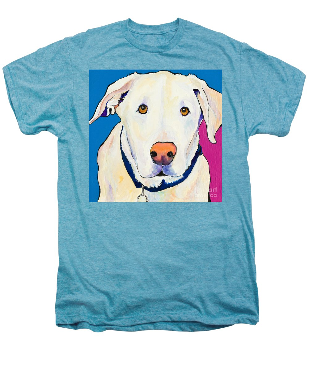 White Lab Yellow Lab Animal Paintings Golden Eyes Square Format Dogs Pets Rescued Men's Premium T-Shirt featuring the painting Aslinn by Pat Saunders-White