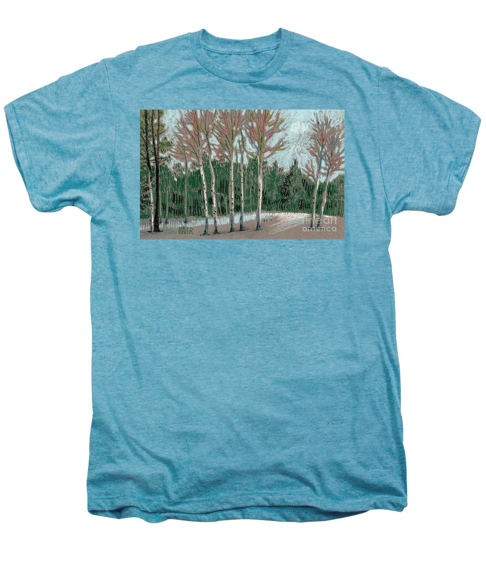 Aspens Men's Premium T-Shirt featuring the drawing Aspen In The Snow by Donald Maier