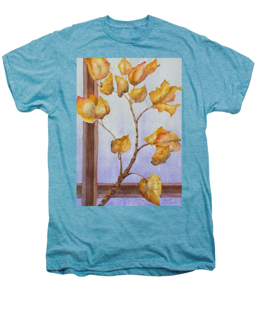 Leaves Men's Premium T-Shirt featuring the painting Aspen by Ruth Kamenev
