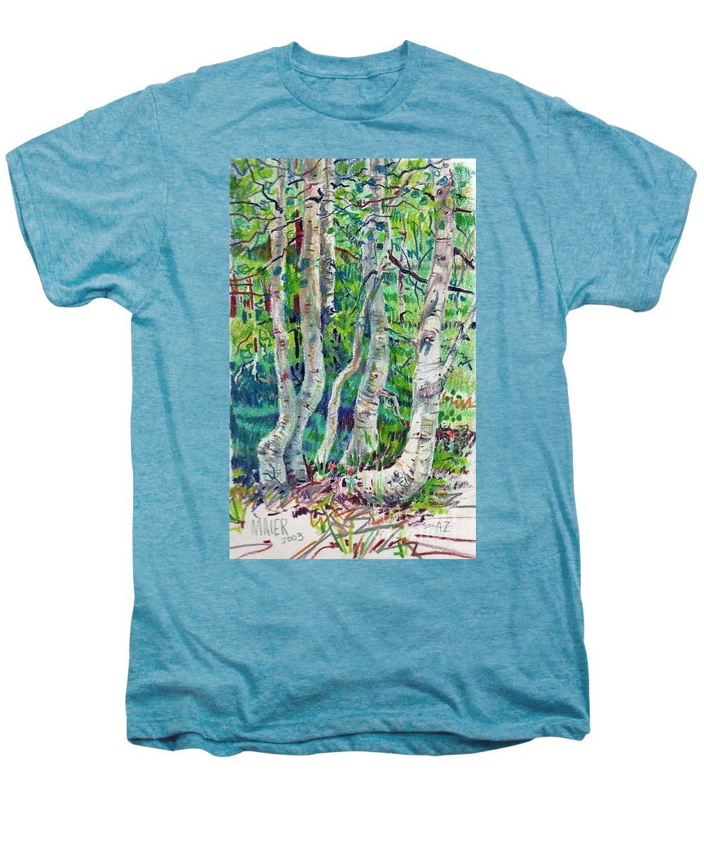 Aspens Men's Premium T-Shirt featuring the drawing Aspens by Donald Maier