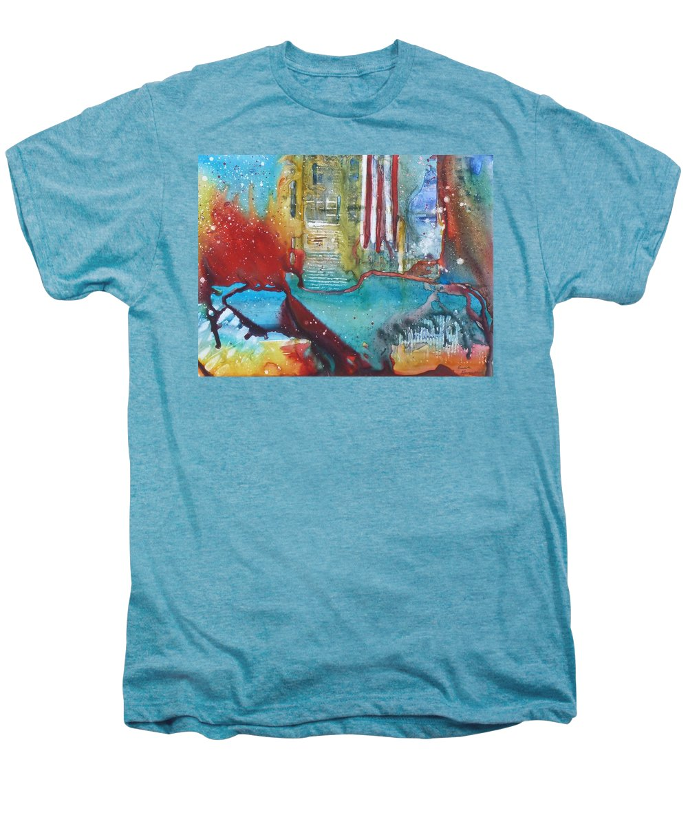 Abstract Men's Premium T-Shirt featuring the painting Atlantis Crashing Into The Sea by Ruth Kamenev