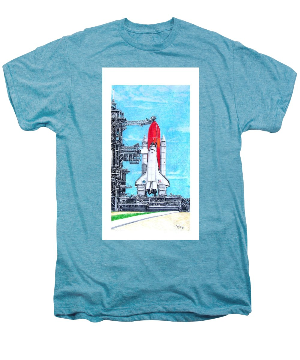 Drawing Men's Premium T-Shirt featuring the drawing Atlantis by Murphy Elliott
