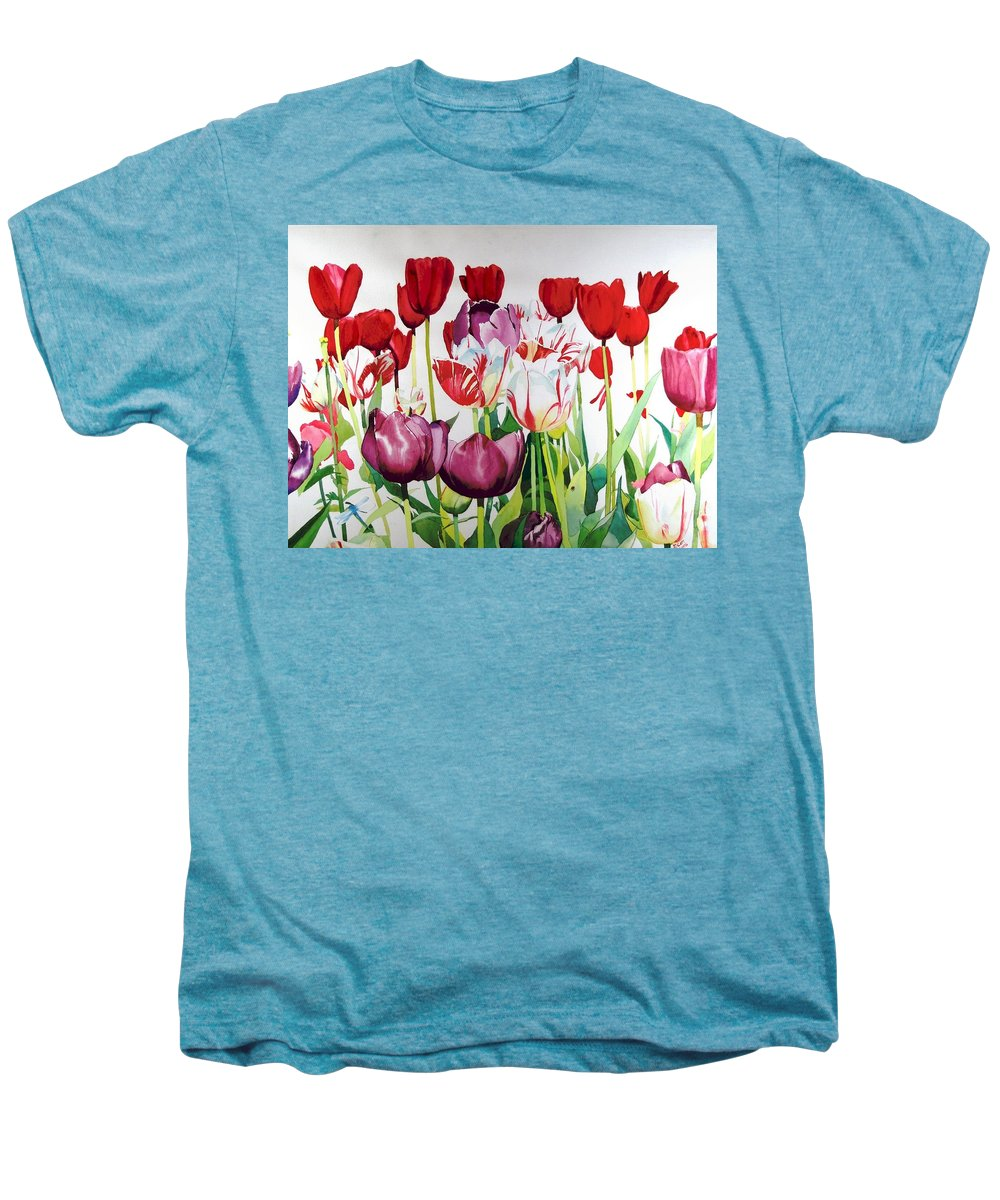 Tulips Men's Premium T-Shirt featuring the painting Attention by Elizabeth Carr