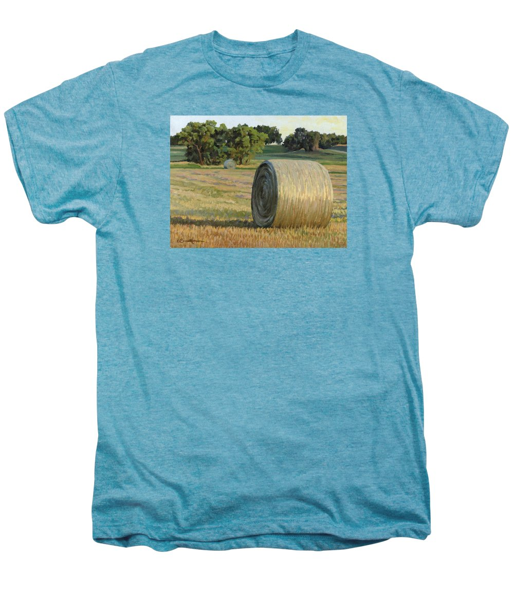 Landscape Men's Premium T-Shirt featuring the painting August Bales by Bruce Morrison