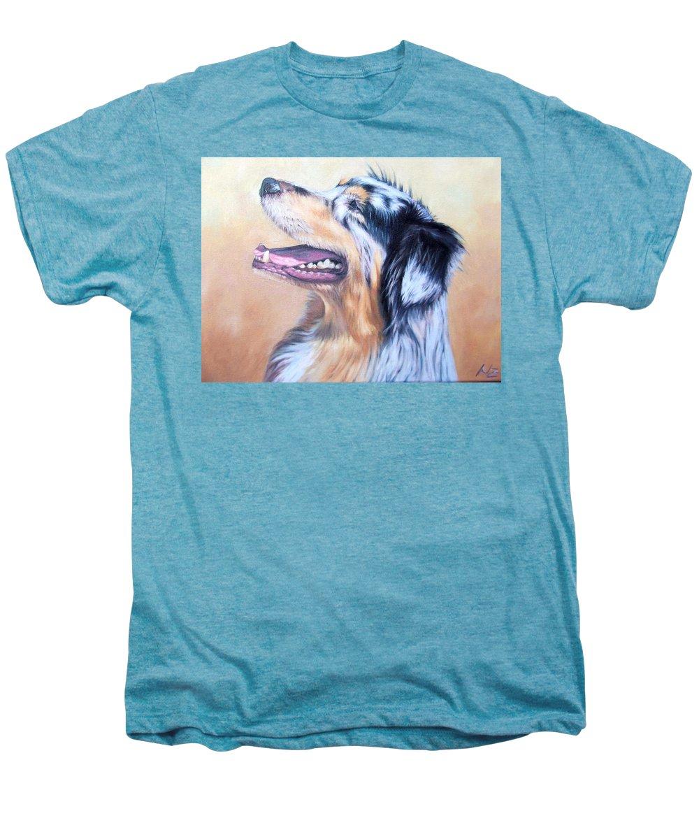 Dog Men's Premium T-Shirt featuring the painting Australian Shepherd Dog by Nicole Zeug