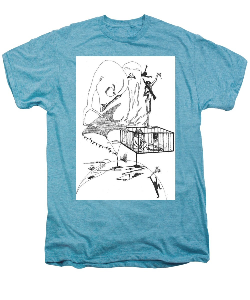 Drawing Pen Automatism Men's Premium T-Shirt featuring the drawing Automatism by Veronica Jackson