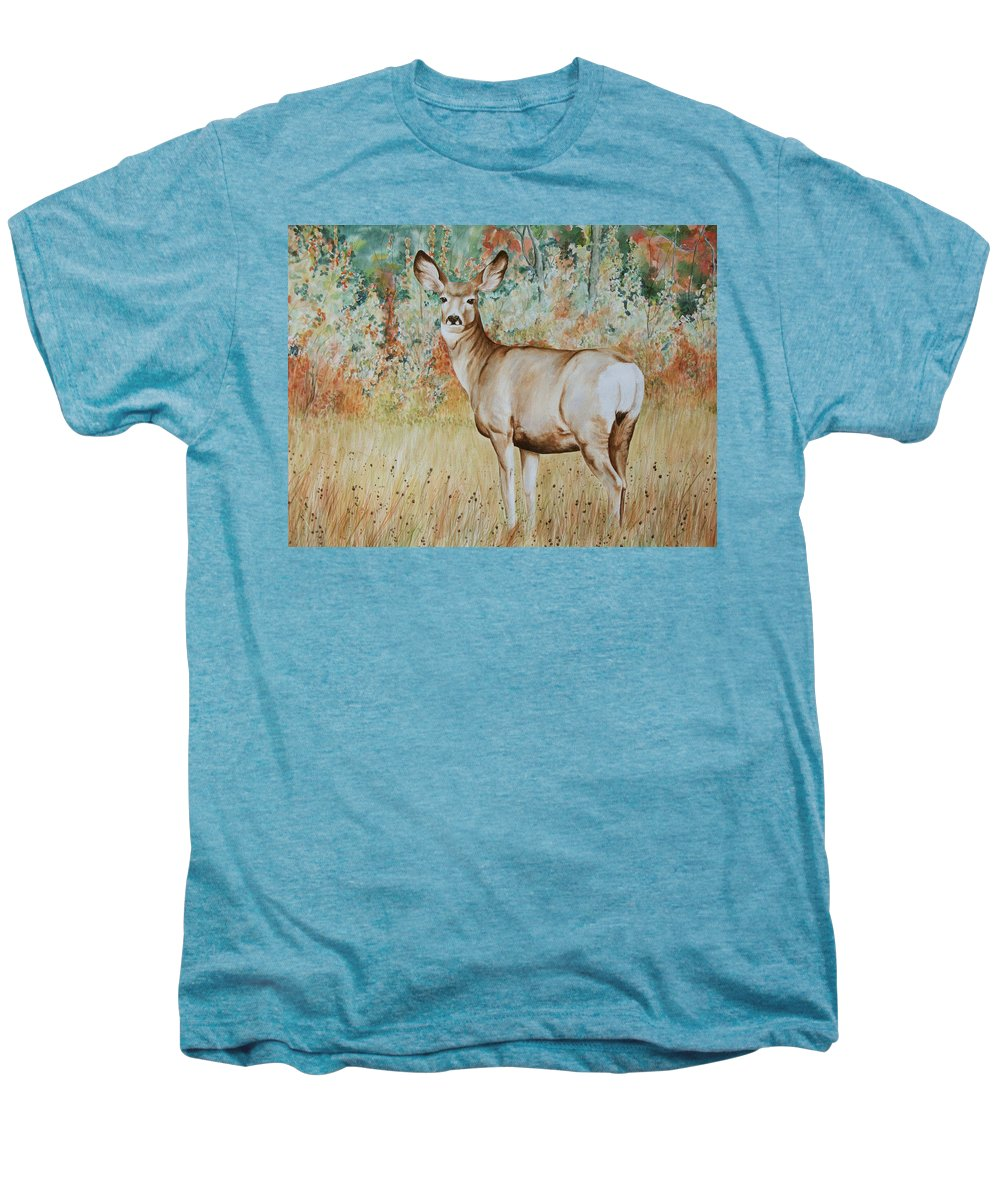 Wildlife Men's Premium T-Shirt featuring the painting Autumn Beauty- Mule Deer Doe by Elaine Booth-Kallweit