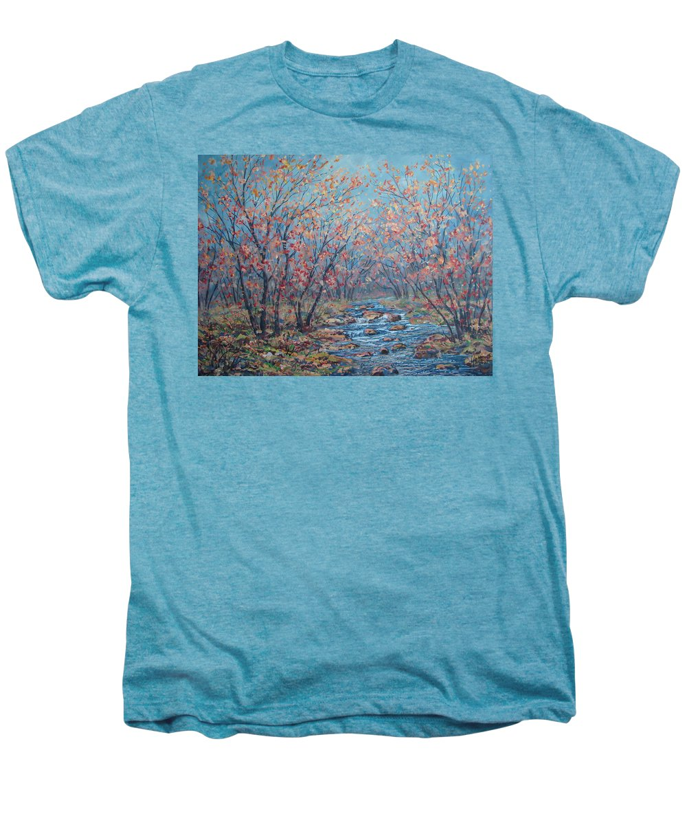 Landscape Men's Premium T-Shirt featuring the painting Autumn Serenity by Leonard Holland