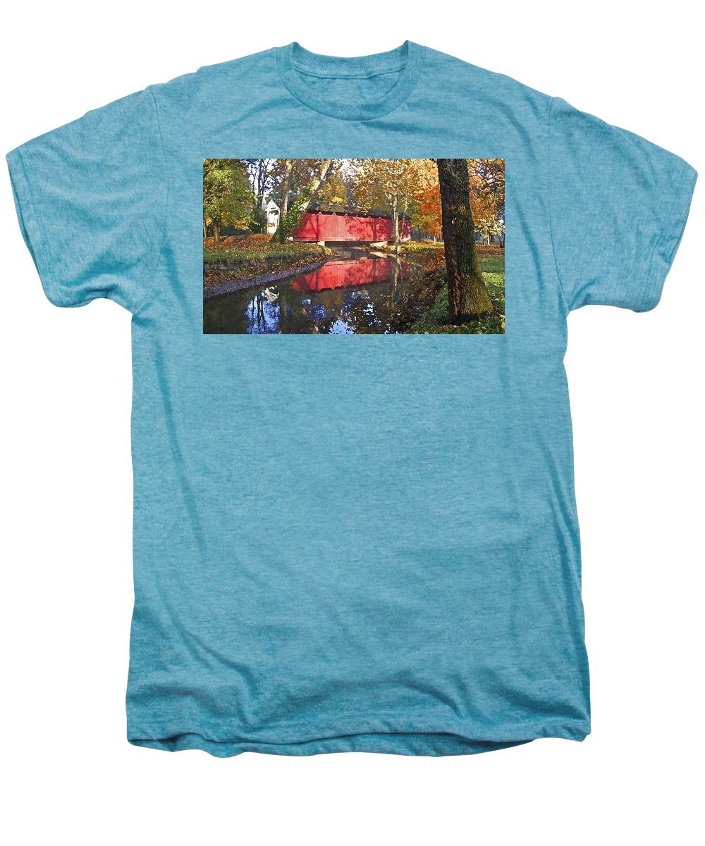 Covered Bridge Men's Premium T-Shirt featuring the photograph Autumn Sunrise Bridge by Margie Wildblood