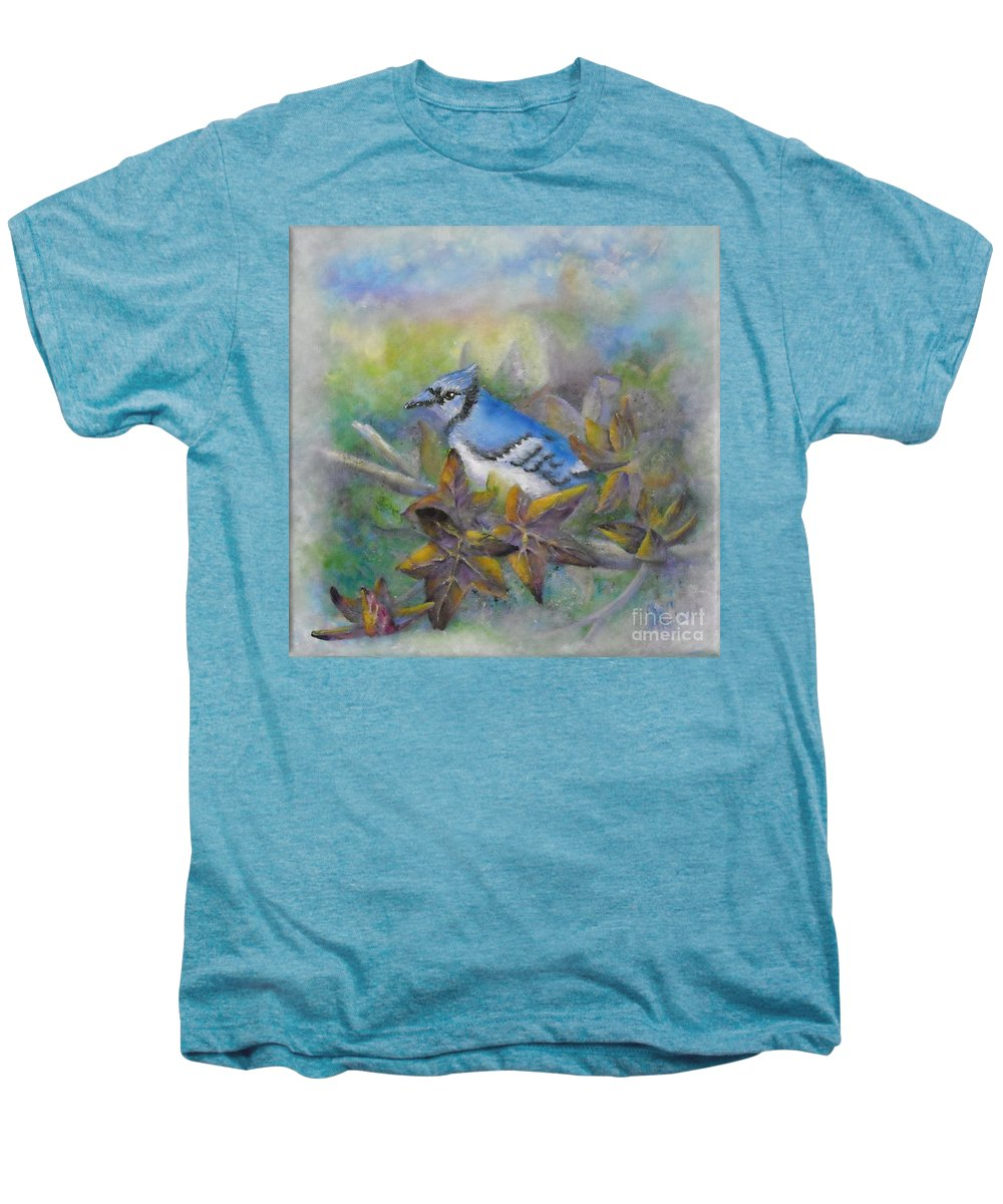 Autumn Men's Premium T-Shirt featuring the painting Autumn Sweet Gum With Blue Jay by Sheri Hubbard