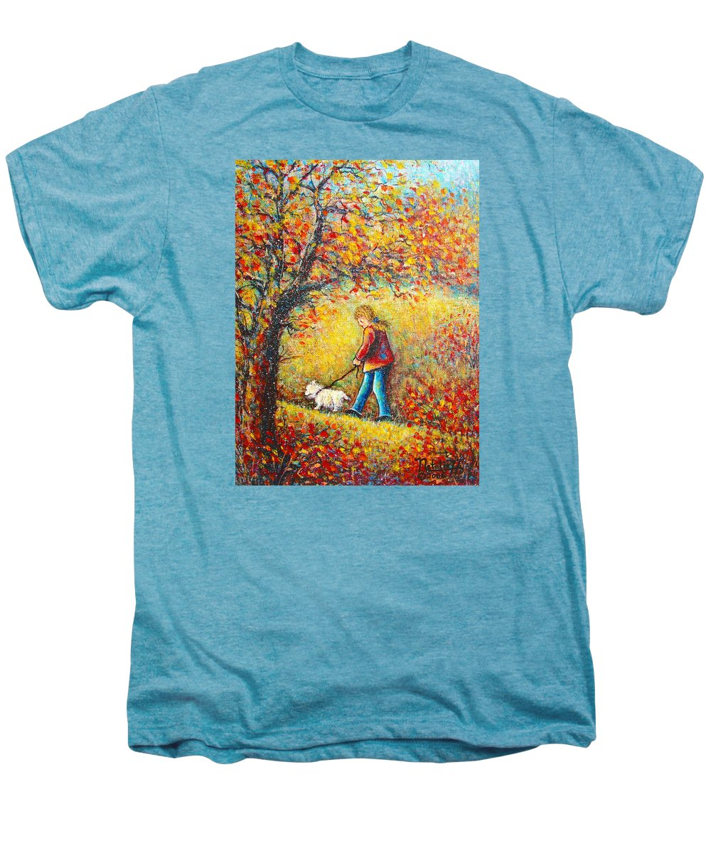 Landscape Men's Premium T-Shirt featuring the painting Autumn Walk by Natalie Holland