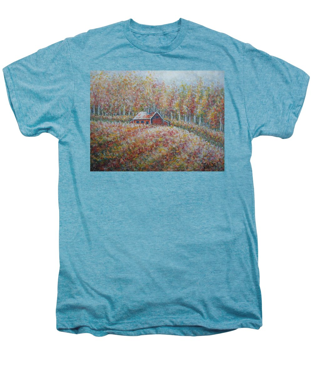 Landscape Men's Premium T-Shirt featuring the painting Autumn Whisper. by Natalie Holland