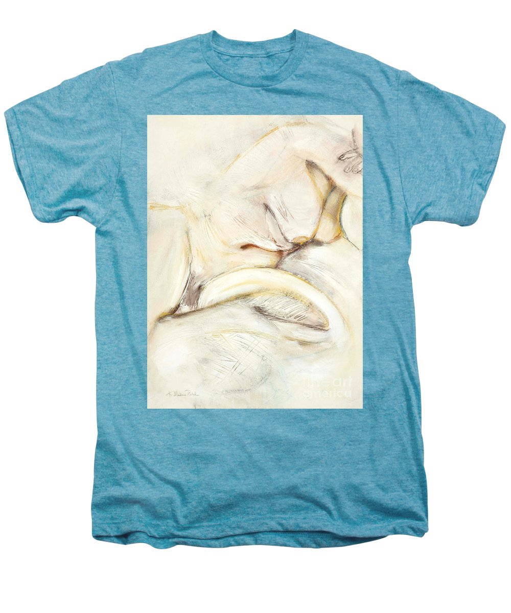 Female Men's Premium T-Shirt featuring the drawing Award Winning Abstract Nude by Kerryn Madsen-Pietsch