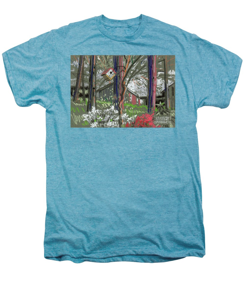 Azalea Men's Premium T-Shirt featuring the drawing Azaleas In Spring by Donald Maier