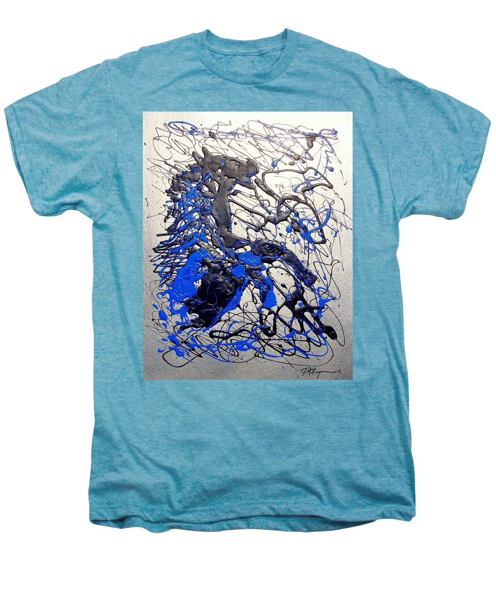Stallion Horse Men's Premium T-Shirt featuring the painting Azul Diablo by J R Seymour