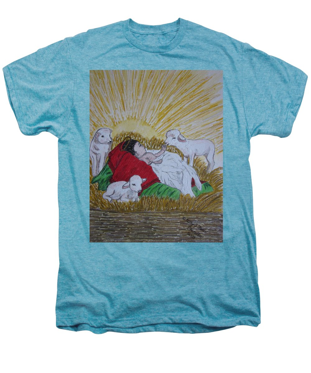 Saviour Men's Premium T-Shirt featuring the painting Baby Jesus At Birth by Kathy Marrs Chandler