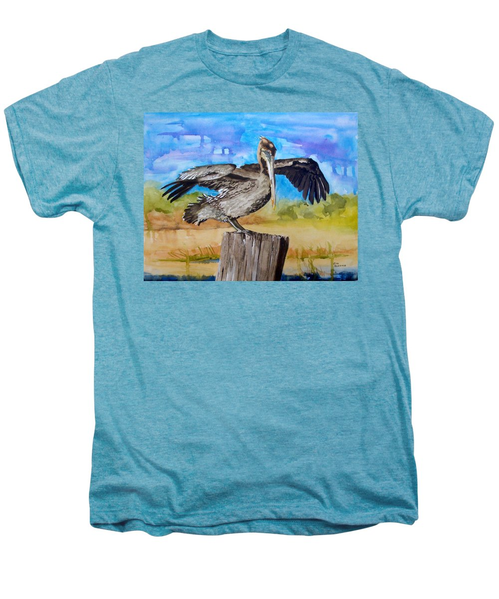 Pelican Men's Premium T-Shirt featuring the painting Baby Spreads His Wings by Jean Blackmer