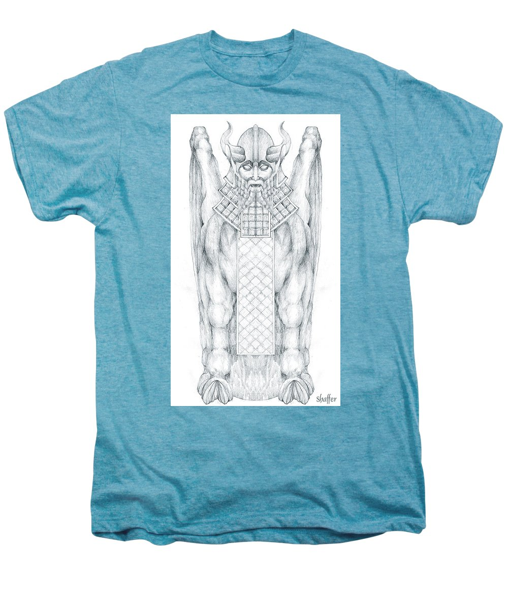 Babylonian Men's Premium T-Shirt featuring the drawing Babylonian Sphinx Lamassu by Curtiss Shaffer