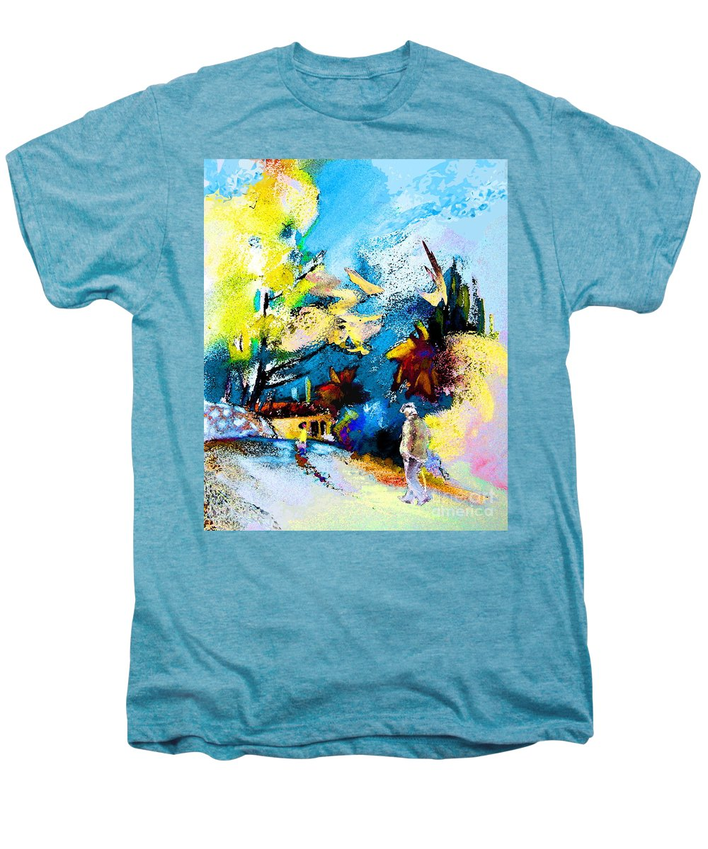 Pastel Painting Men's Premium T-Shirt featuring the painting Back Home by Miki De Goodaboom