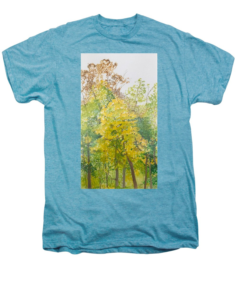 Autumn Men's Premium T-Shirt featuring the painting Backyard by Leah Tomaino