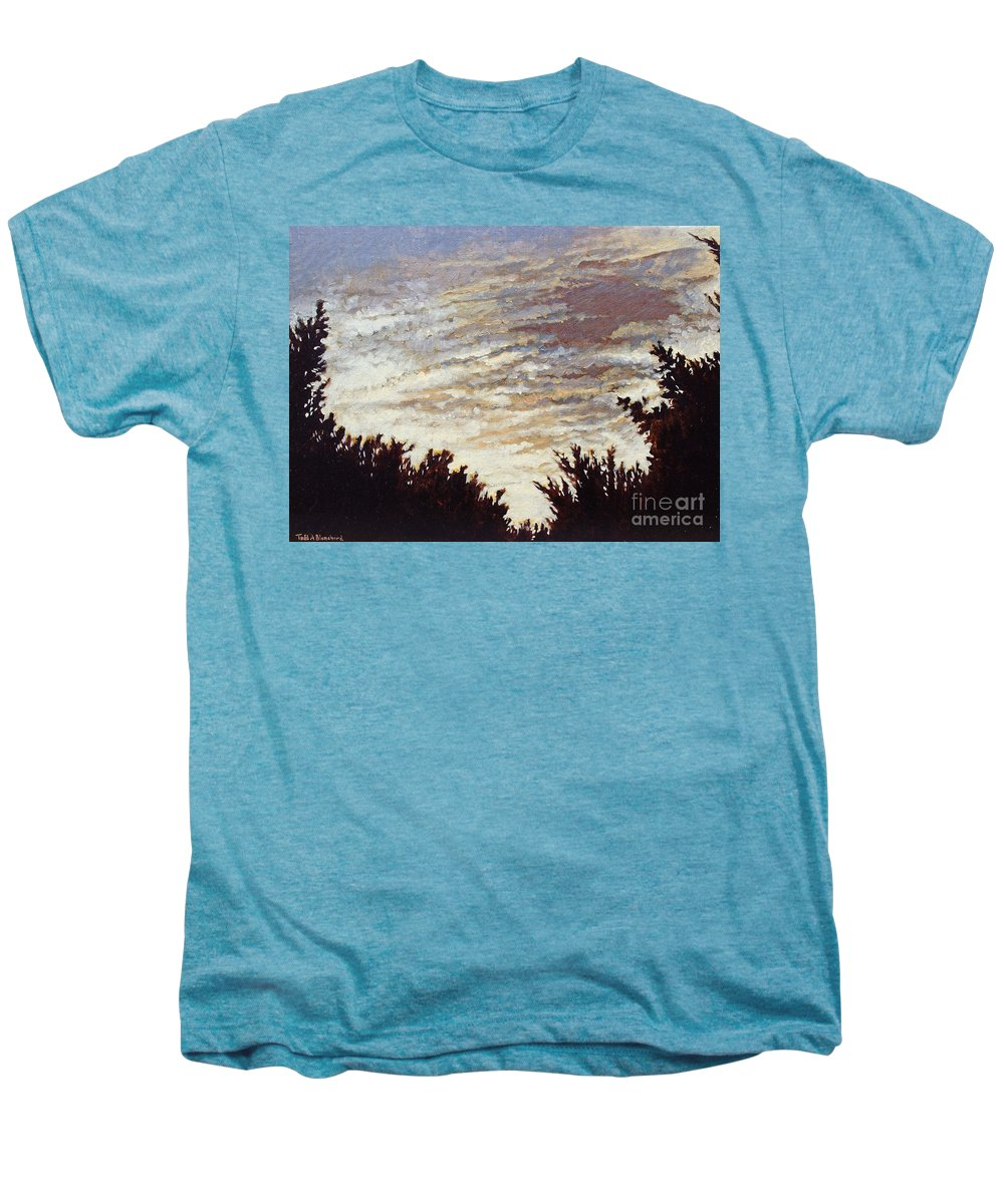 Landscape Men's Premium T-Shirt featuring the painting Backyard Sunset by Todd A Blanchard