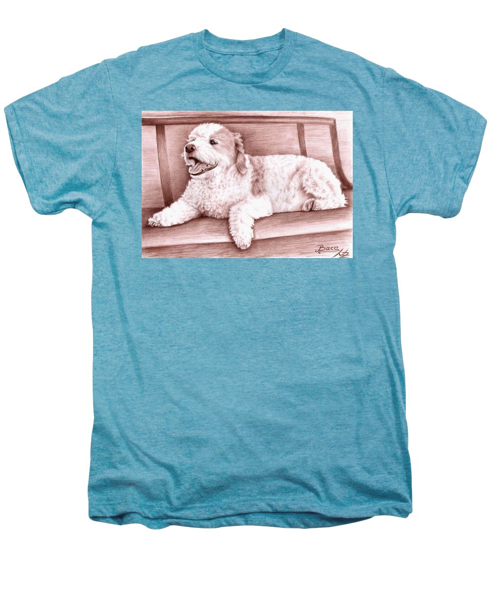 Dog Men's Premium T-Shirt featuring the drawing Baco by Nicole Zeug