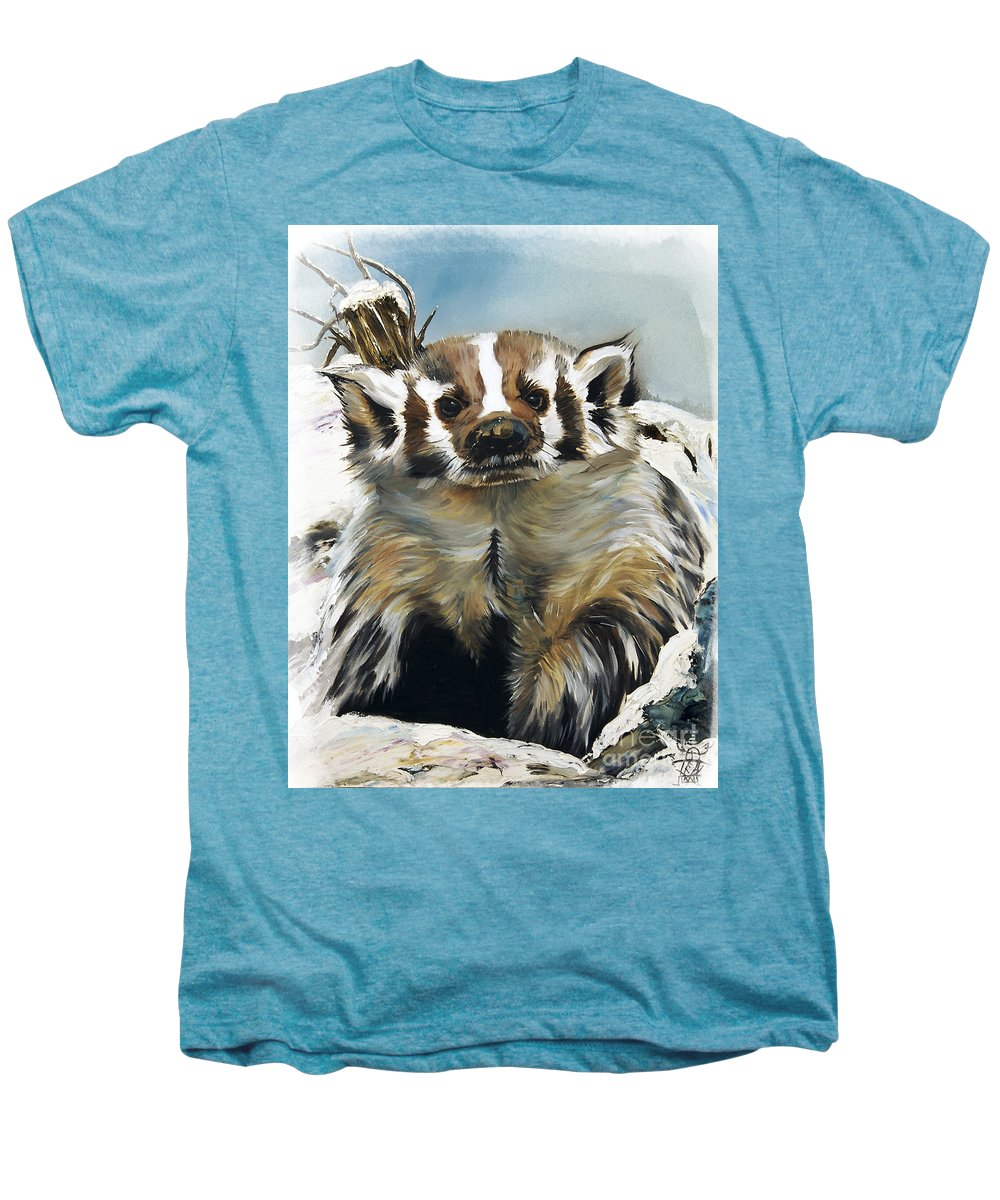 Southwest Art Men's Premium T-Shirt featuring the painting Badger - Guardian Of The South by J W Baker
