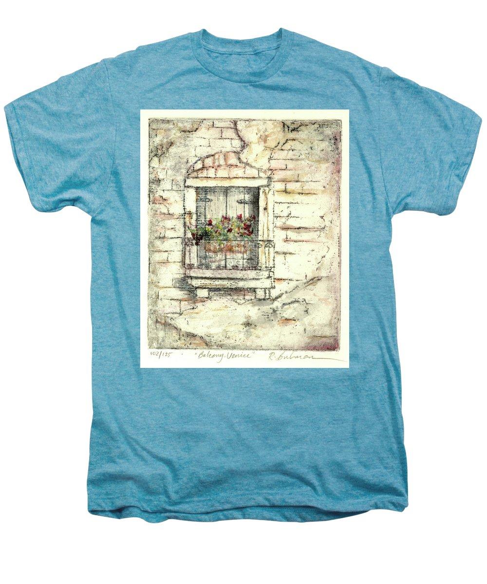 Venice Men's Premium T-Shirt featuring the painting Balcony Venice by Richard Bulman