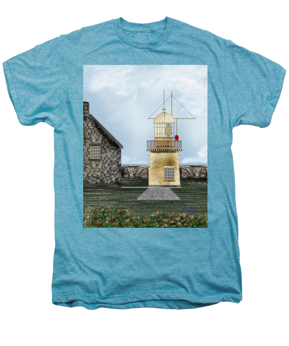 Lighthouse Men's Premium T-Shirt featuring the painting Ballinacourty Lighthouse At Waterford Ireland by Anne Norskog